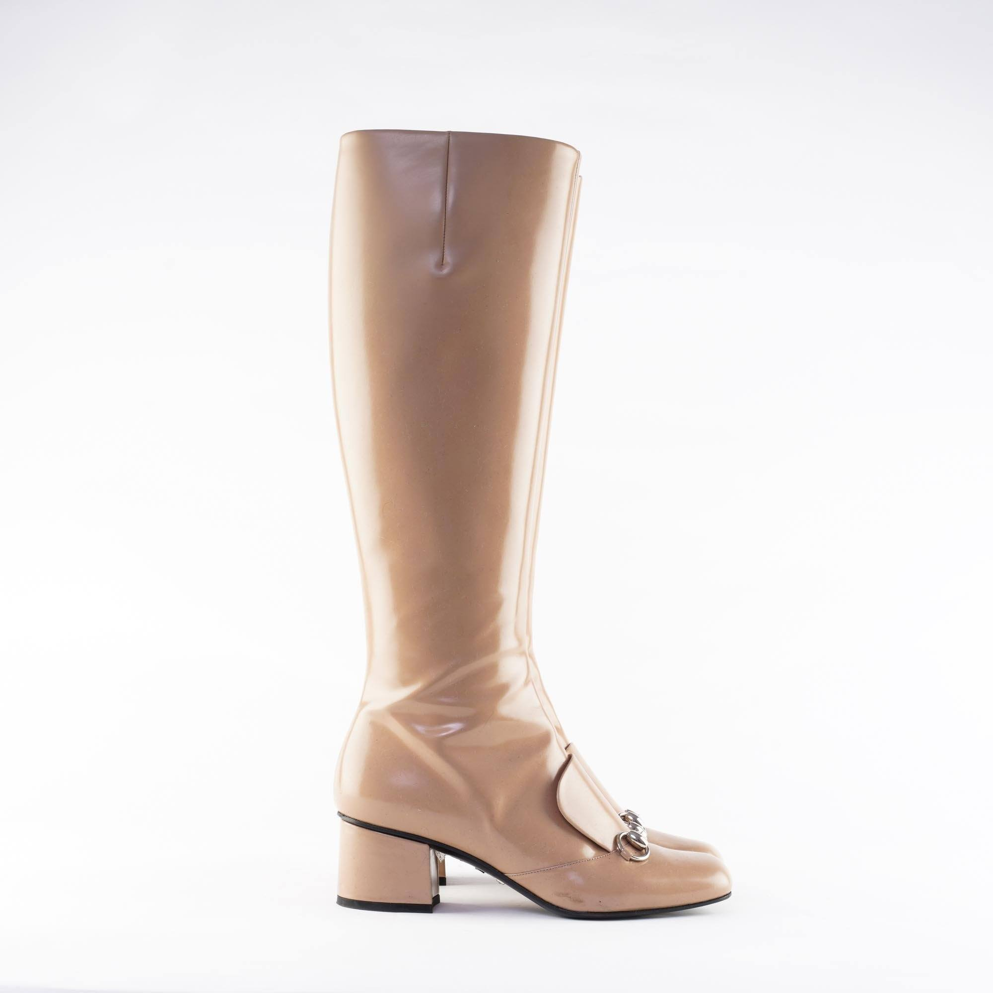 Gucci Nude Leather Horsebit Knee Boot