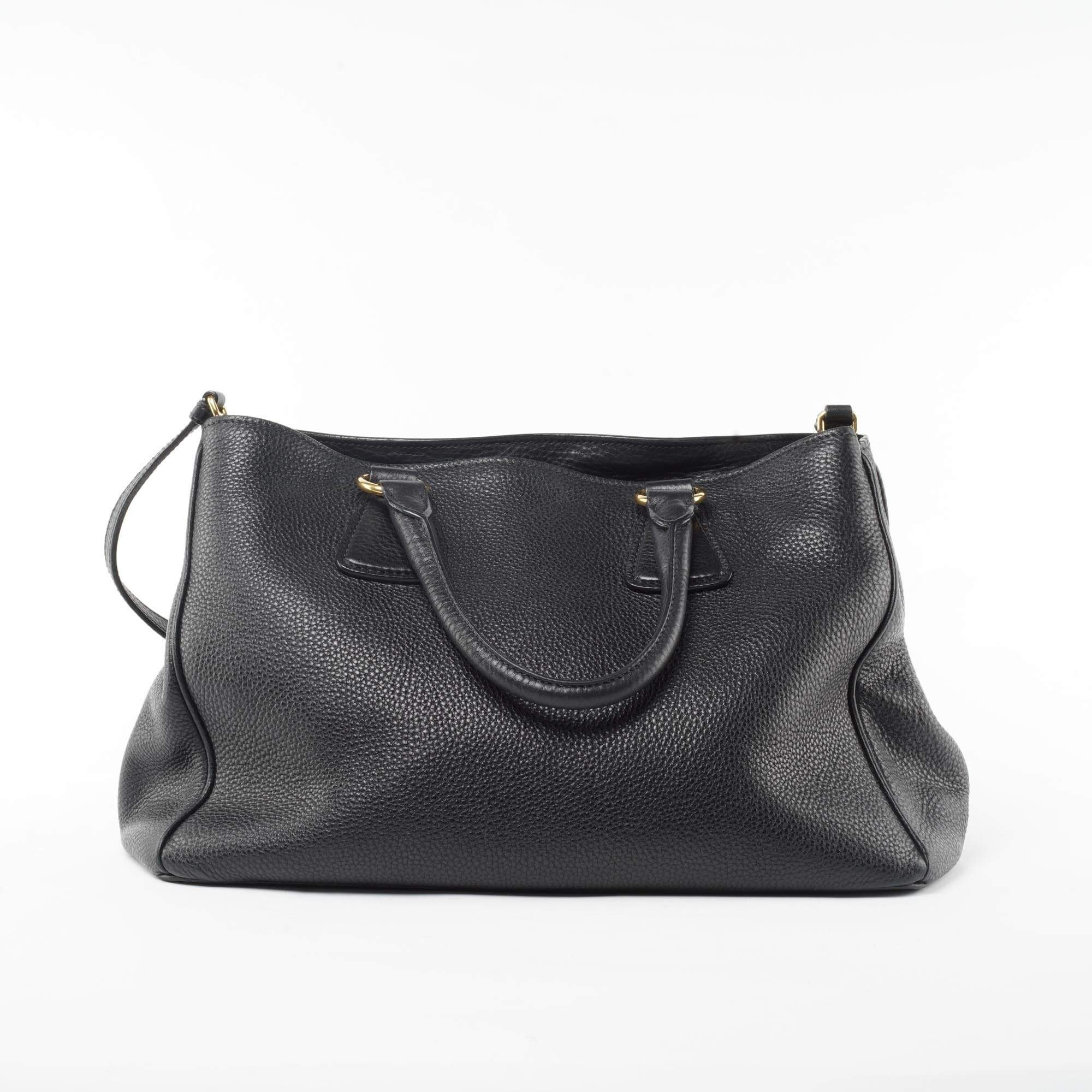 Prada Black Pebbled Leather Vitello Daino Tote Bag