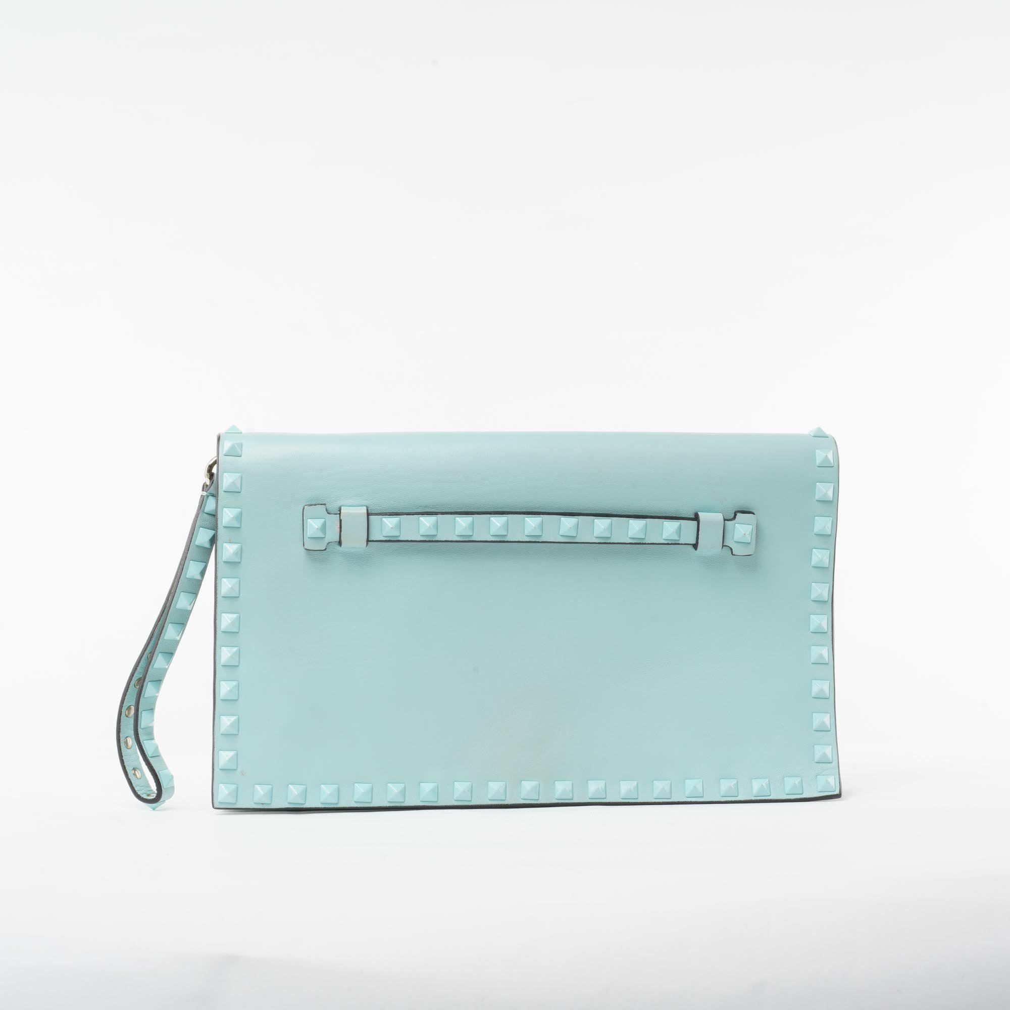 Valentino Garavani Light Blue Nappa Leather Rock Stud Clutch Bag