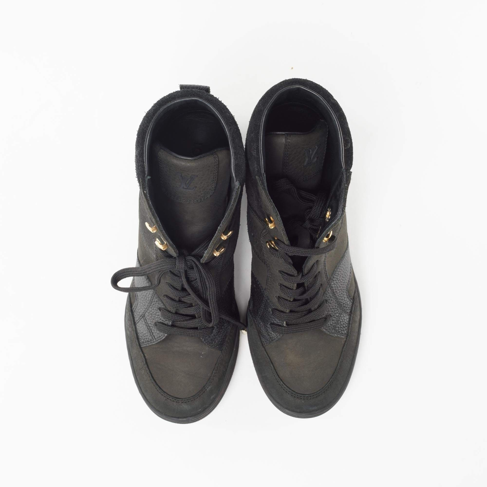 Louis Vuitton Black Leather Cliff Top Sneaker Wedges