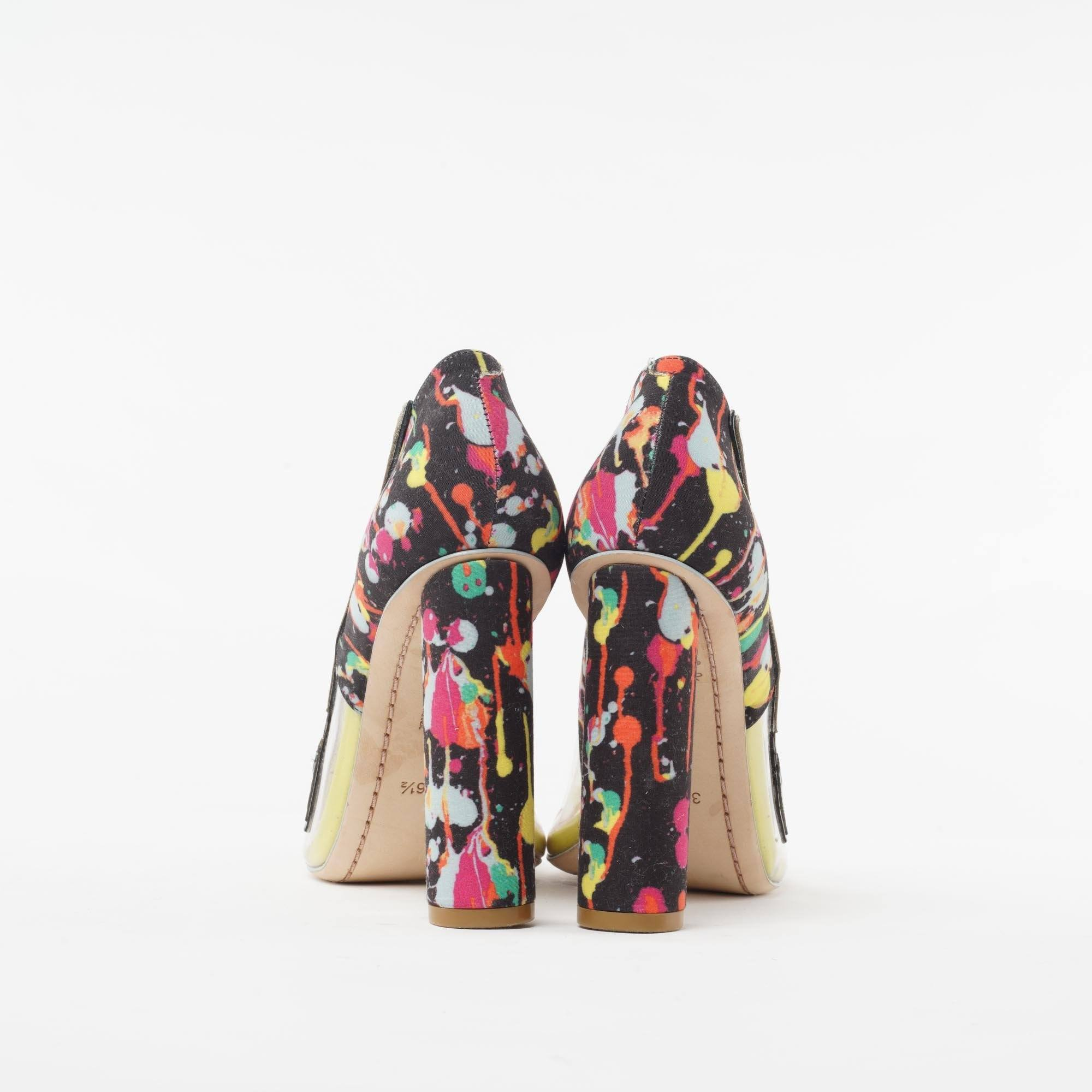 "Sophia Webster ""Party Like Pollock"" Multi-Printed Peep-Toe Pump"
