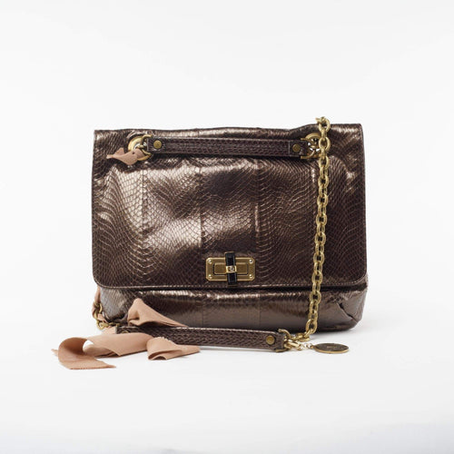 Lanvin Bronze Happy Python Shoulder Bag