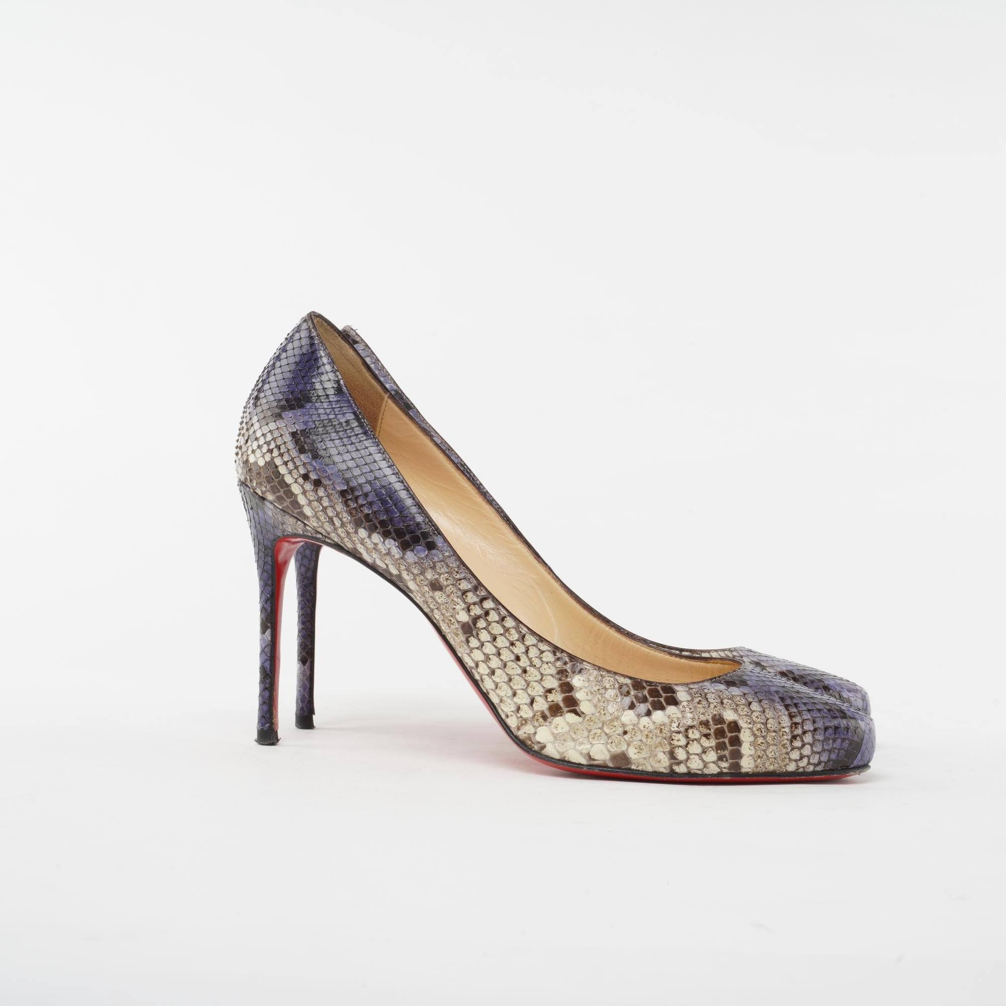"Christian Louboutin Multicolored Python Round Toe ""Simple"" Pumps"