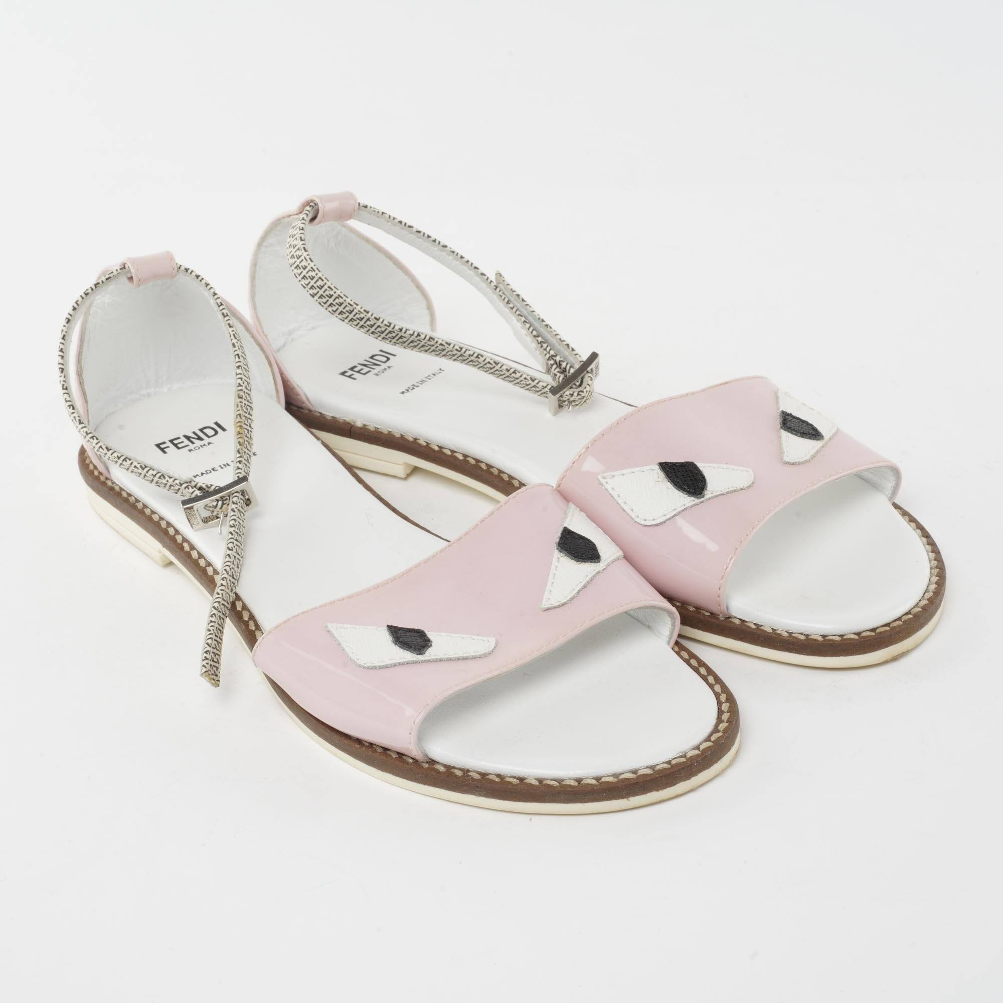 Fendi Kids-girls Monster Faux Patent Leather Sandals