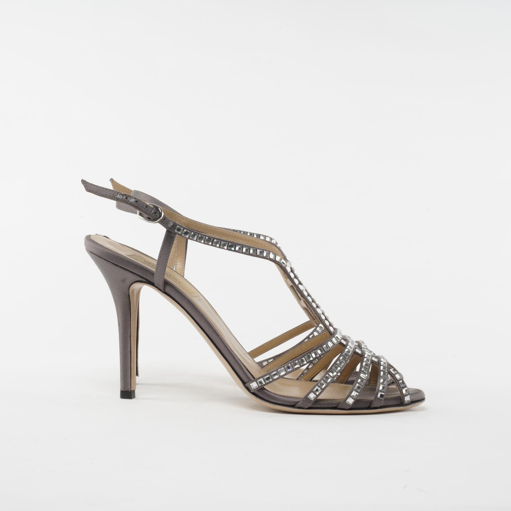 Valentino Grey Crystal Embellished Strappy Heels