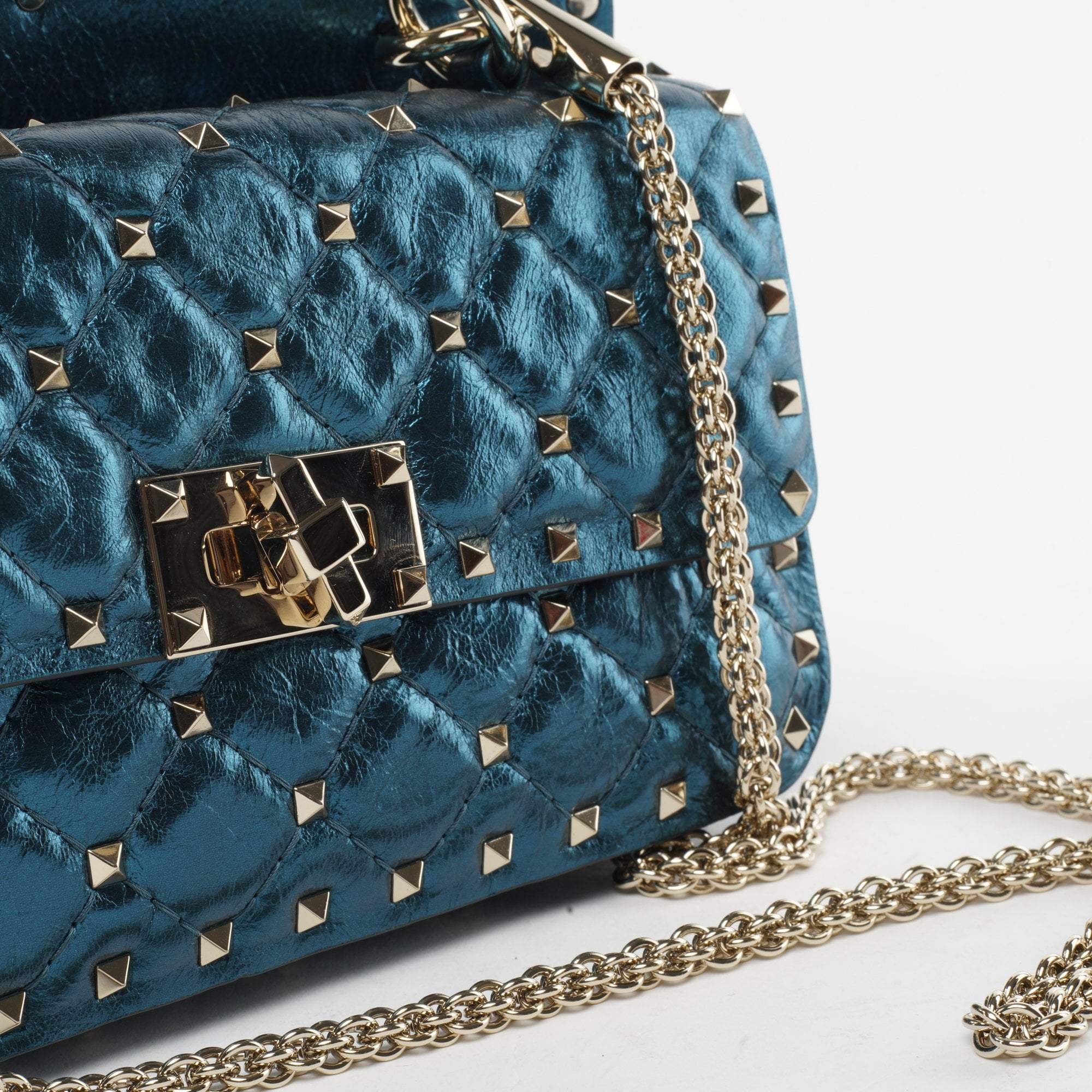 Valentino Rockstud Spike Small Quilted Metallic Leather Crossbody Bag
