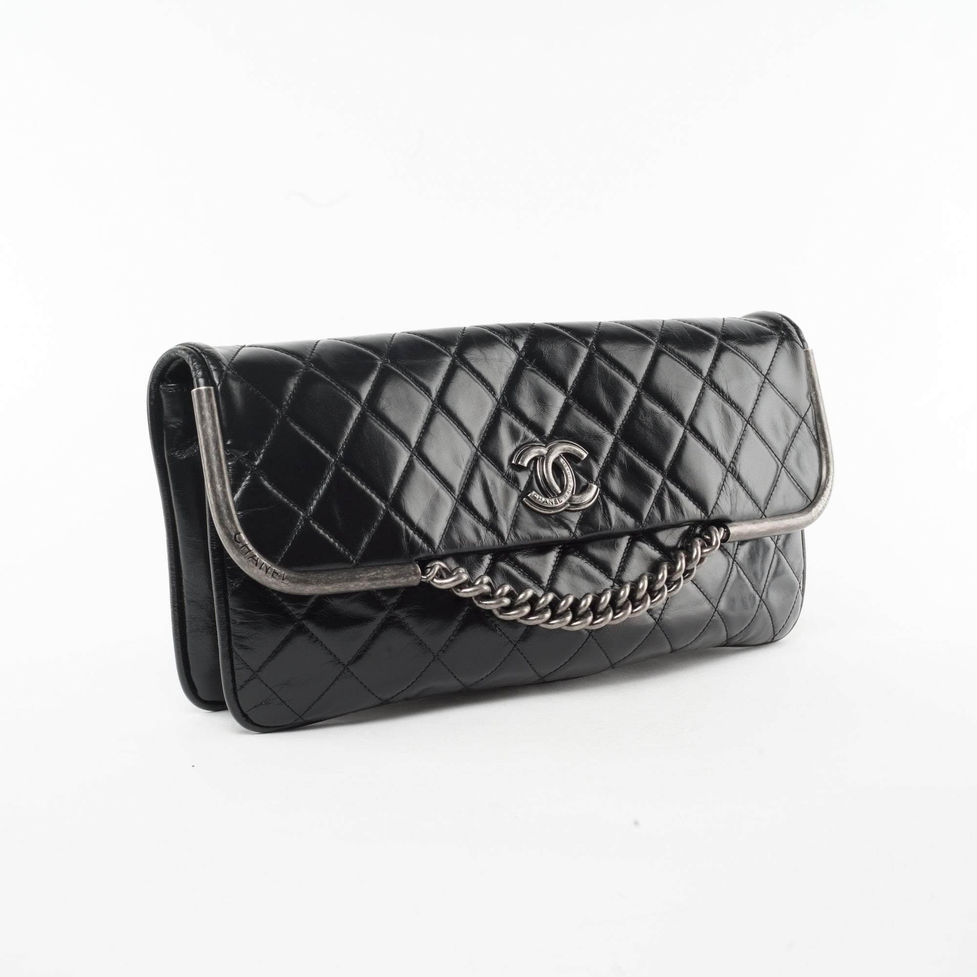Chanel Black Quilted Leather Flap Clutch