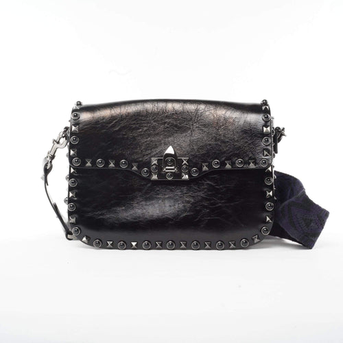 Valentino Rockstud Rolling Leather Shoulder Bag