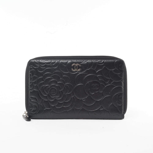 Chanel Lambskin Camellia Embossed Large Zip Around Wallet