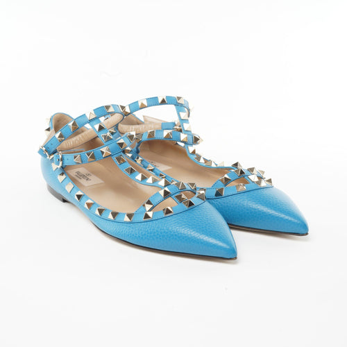Valentino Rockstud Electric Blue Studded T Flats