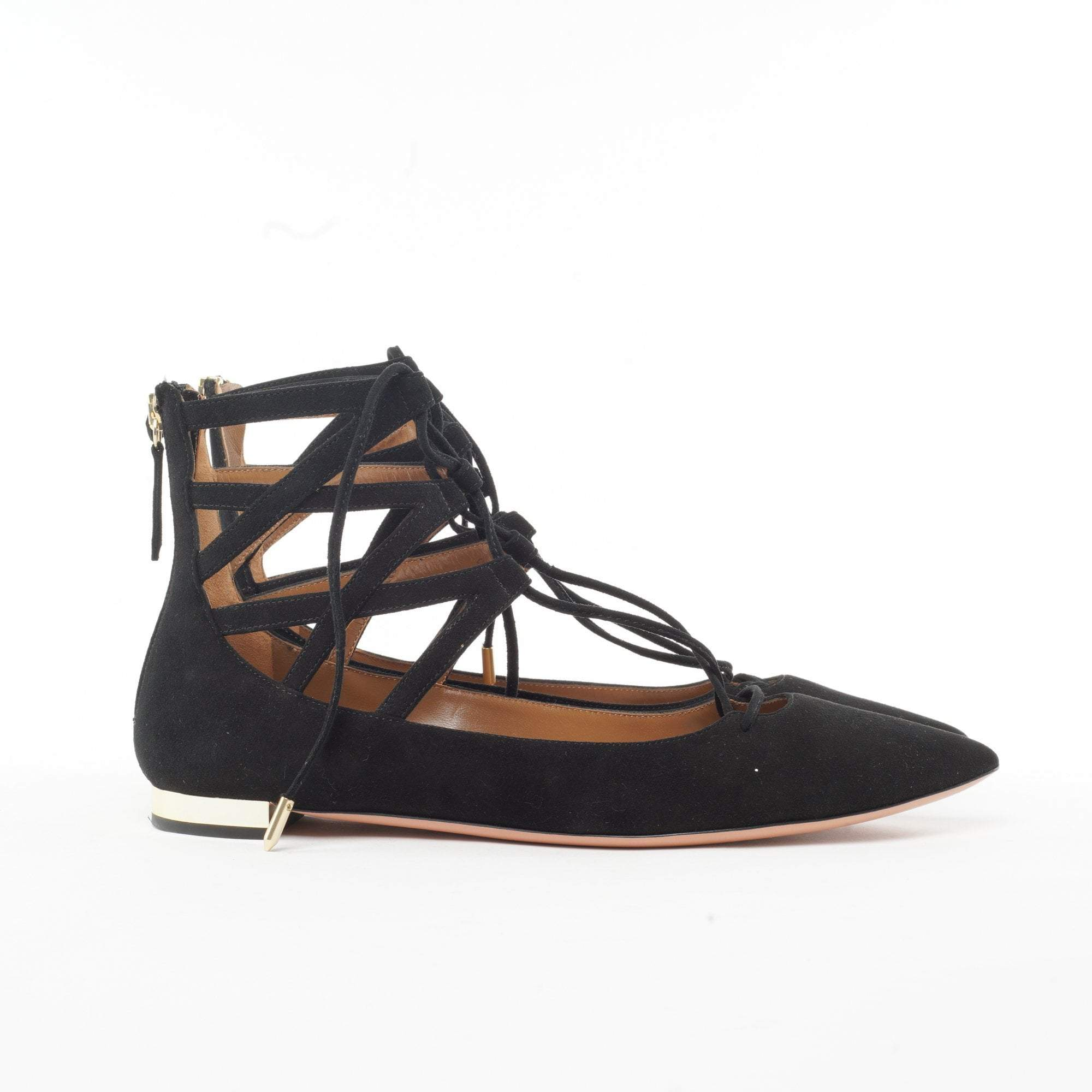 Aquazzura Belgravia Suede Lace Up Flats