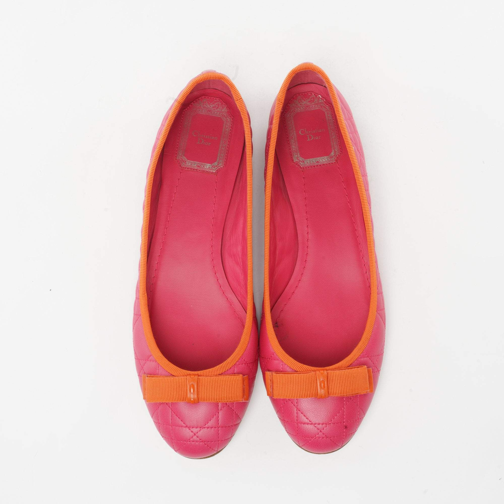 Christian Dior Carnation Pink and Orange Leather Carnage Ballerina Flats