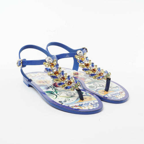 Dolce & Gabbana Maiolica Embellished Jewel Rubber Thong Toe Sandals