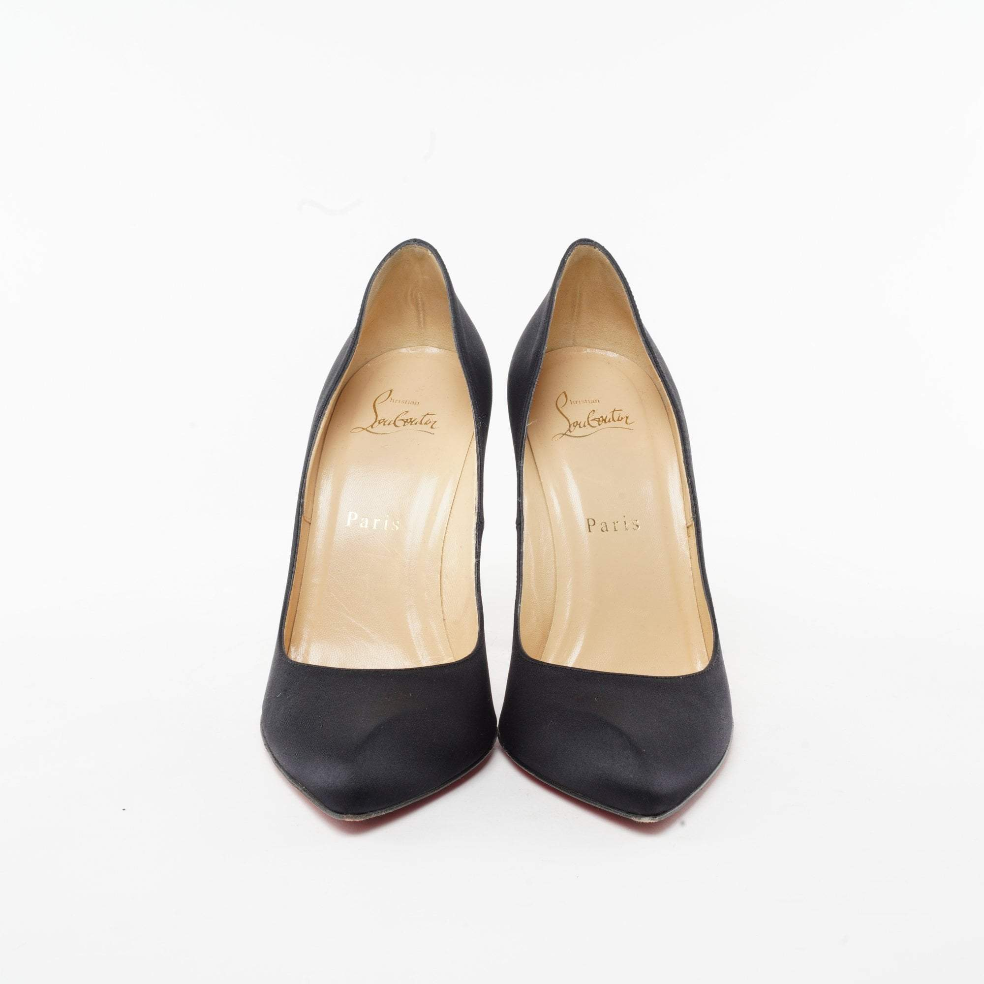 Christian Louboutin Classic Black Satin Pointed Toe Pumps