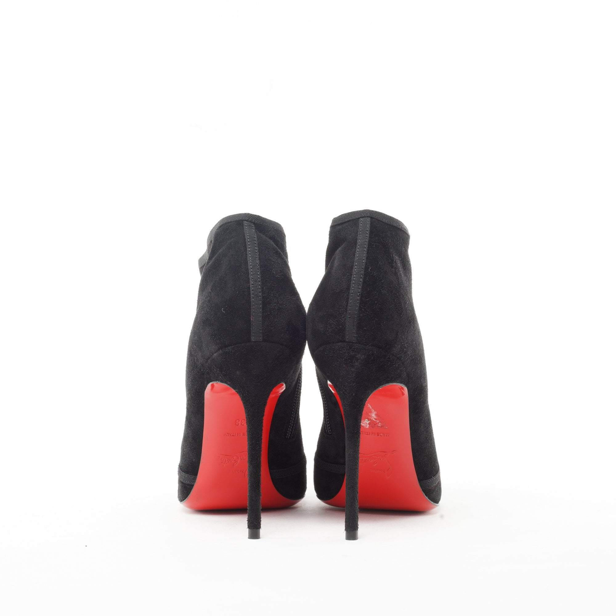 Christian Louboutin Arnoeud Grosgrain-Bow Suede Red Sole Ankle Boot