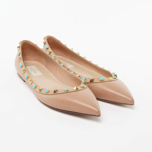 Valentino Leather Rockstud Beige Flats