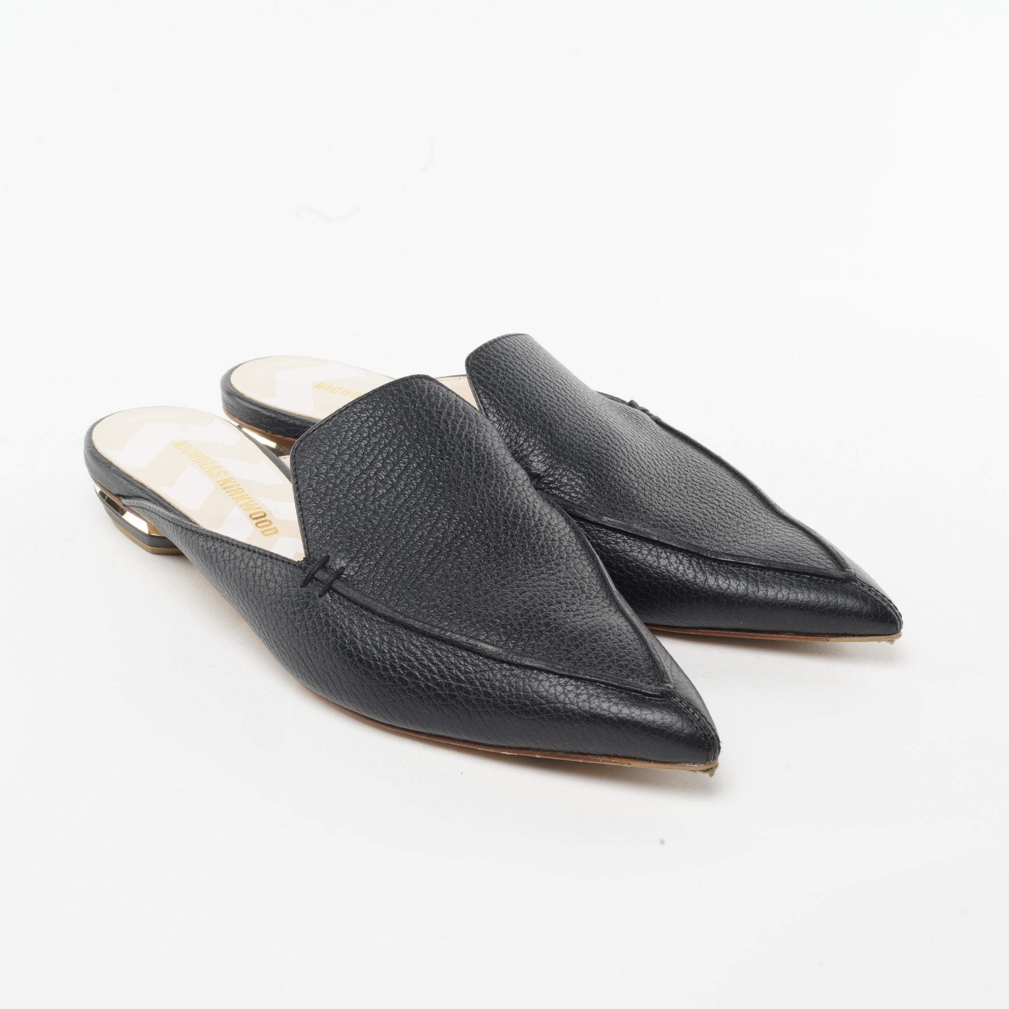 Nicholas Kirkwood  Beya grained-leather backless loafers