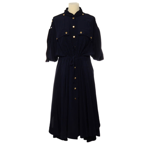 Chloe Navy Blue Midi Dress w/ Pockets and Gold Button Details