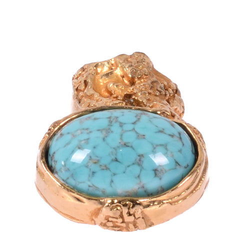 Saint Laurent Pastel Blue YSL Arty Gold Ring