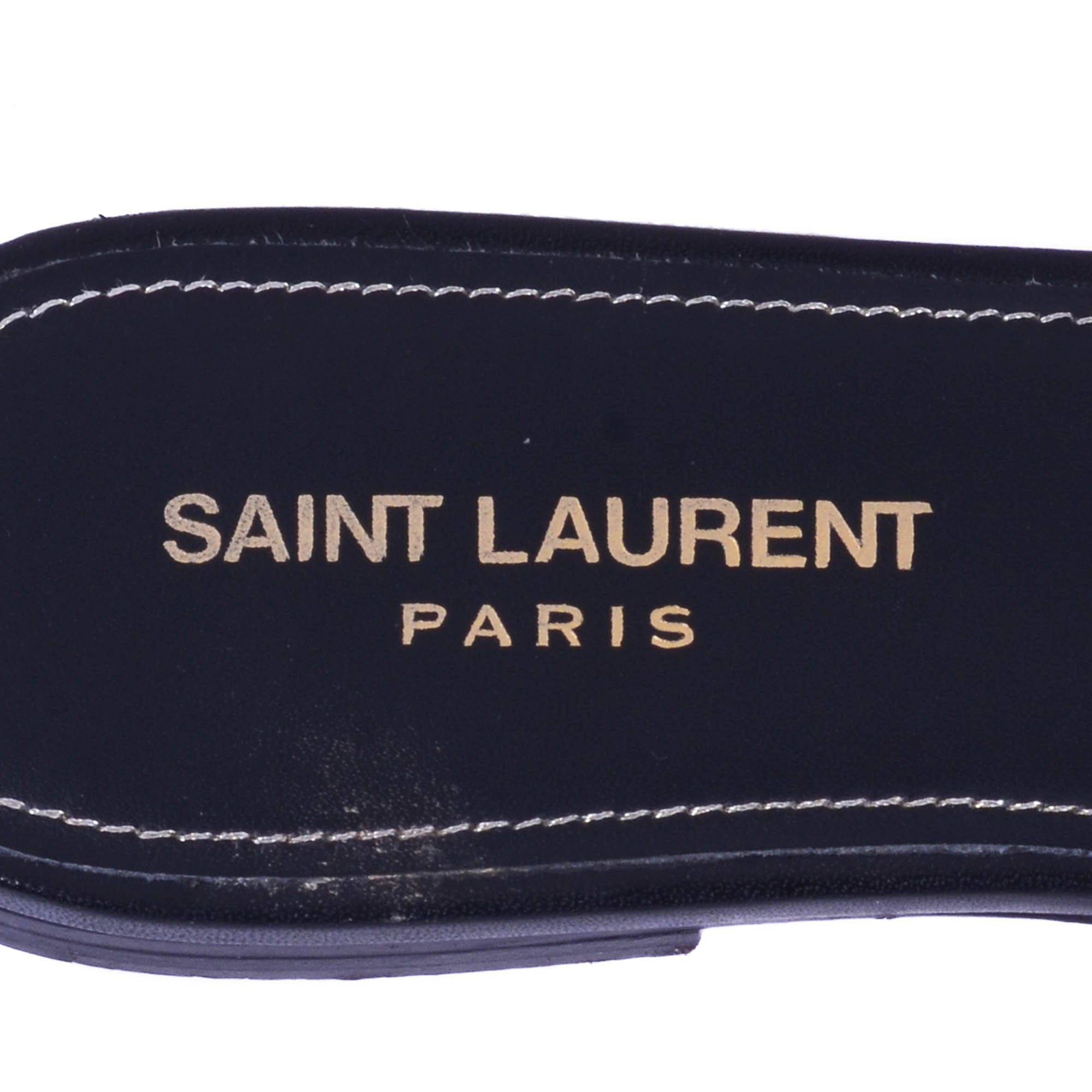 Saint Laurent Black Tribute Flat Sandals