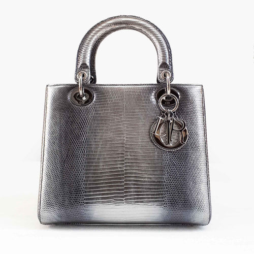 Christian Dior Medium Grazed Leather Silver Bag