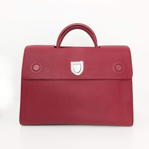 Dior Maroon Leather Large Diorever Bag