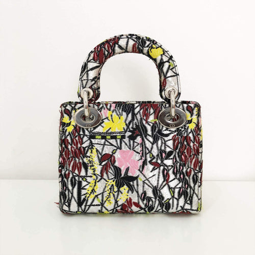 Dior Multicolor Embroidered Fabric Mini Limited Edition Lady Dior Tote