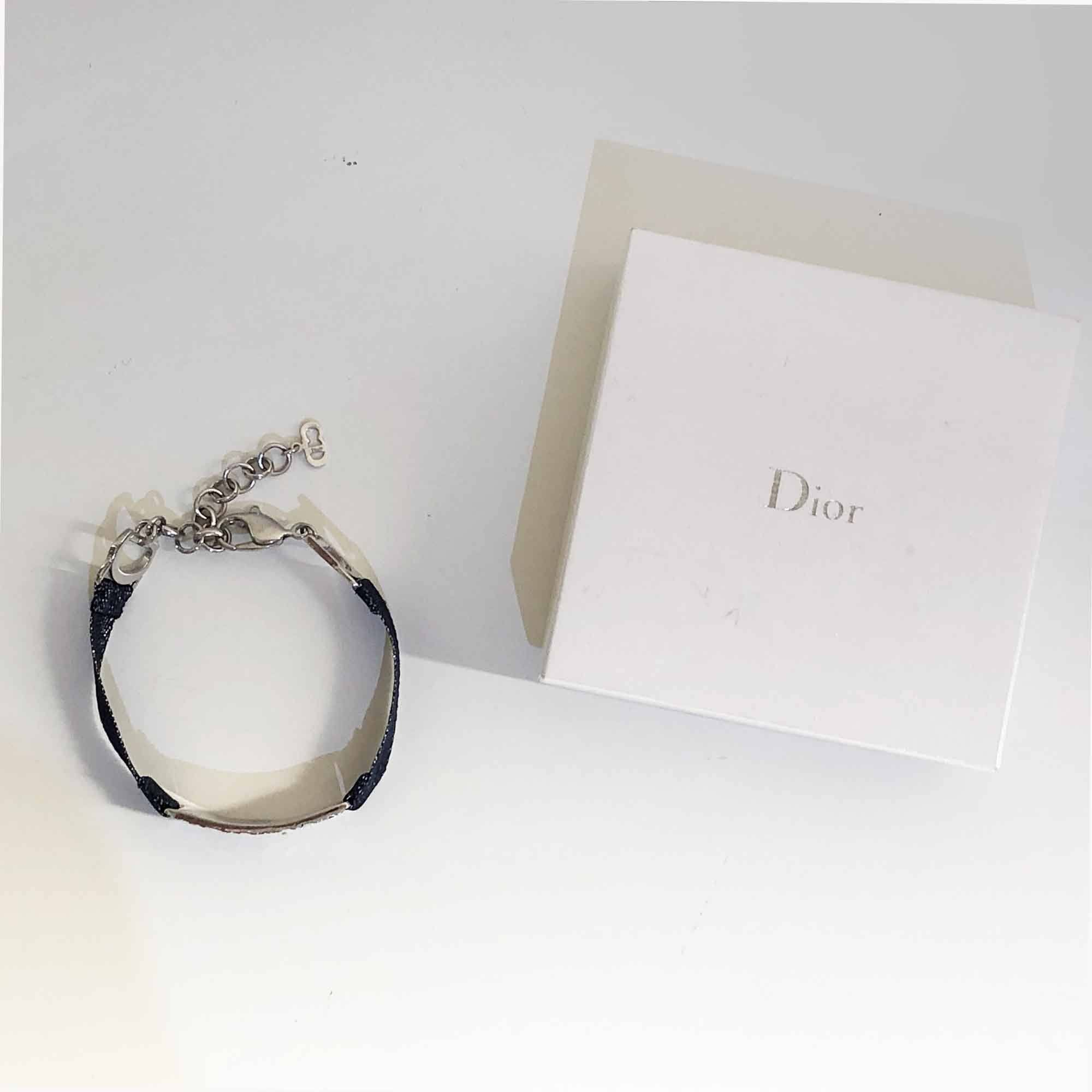 Christian Dior Fabric and Chain Bracelet