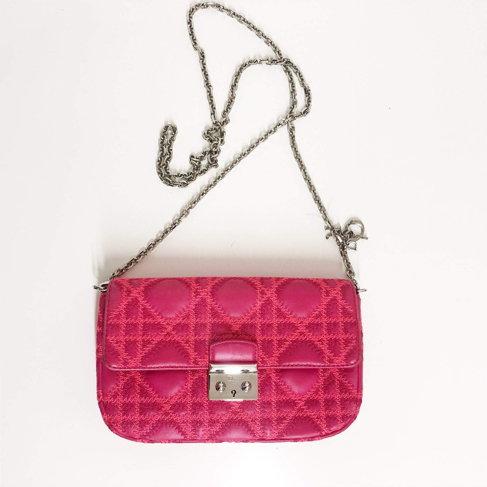 Christian Dior Miss Dior Cannage Quilted Leather Small Flap Bag