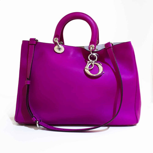 Dior Light Fuchsia Leather Large Diorissimo Shopper Tote