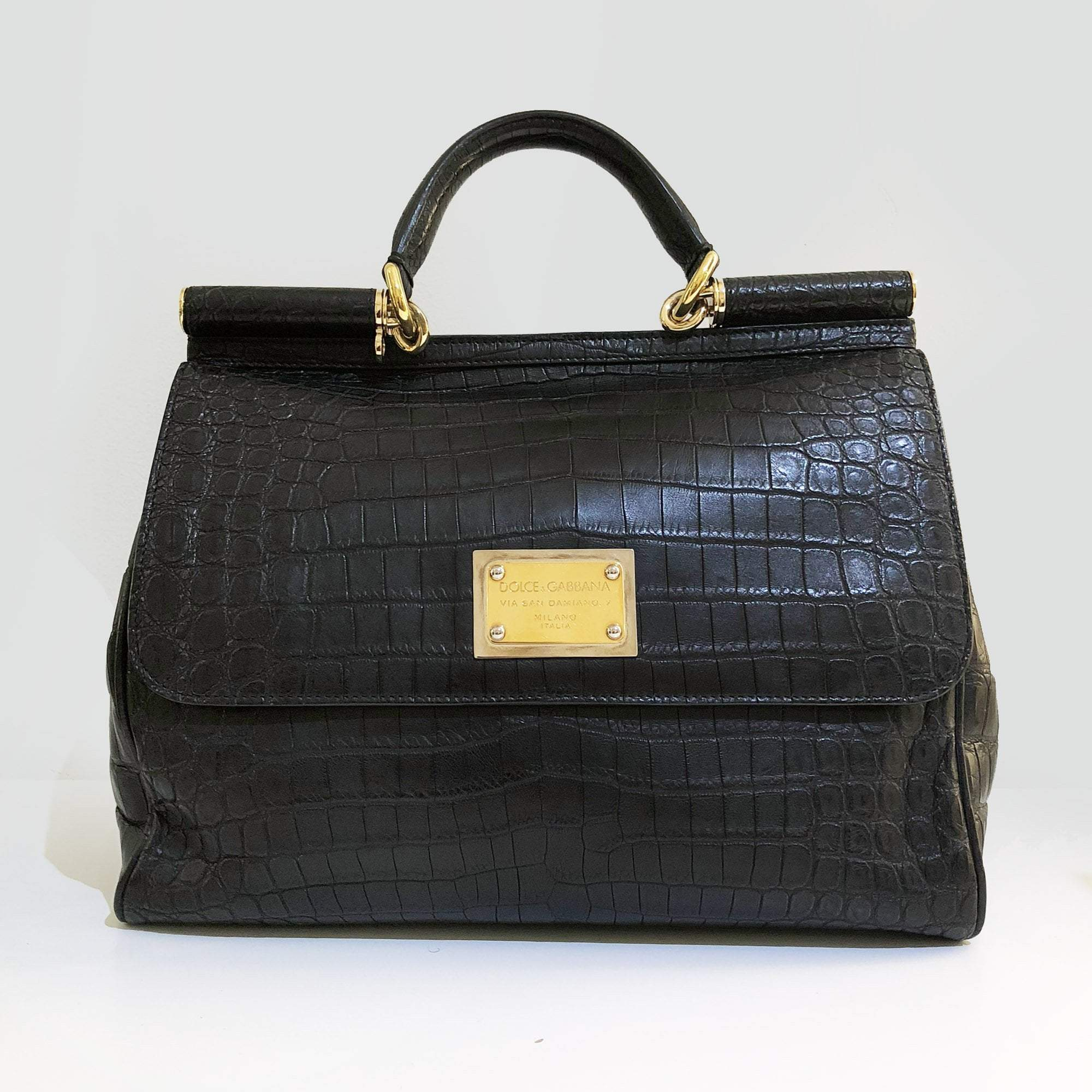 b904770fe7 Dolce   Gabbana Black Crocodile Embossed Large Miss Sicily Tote