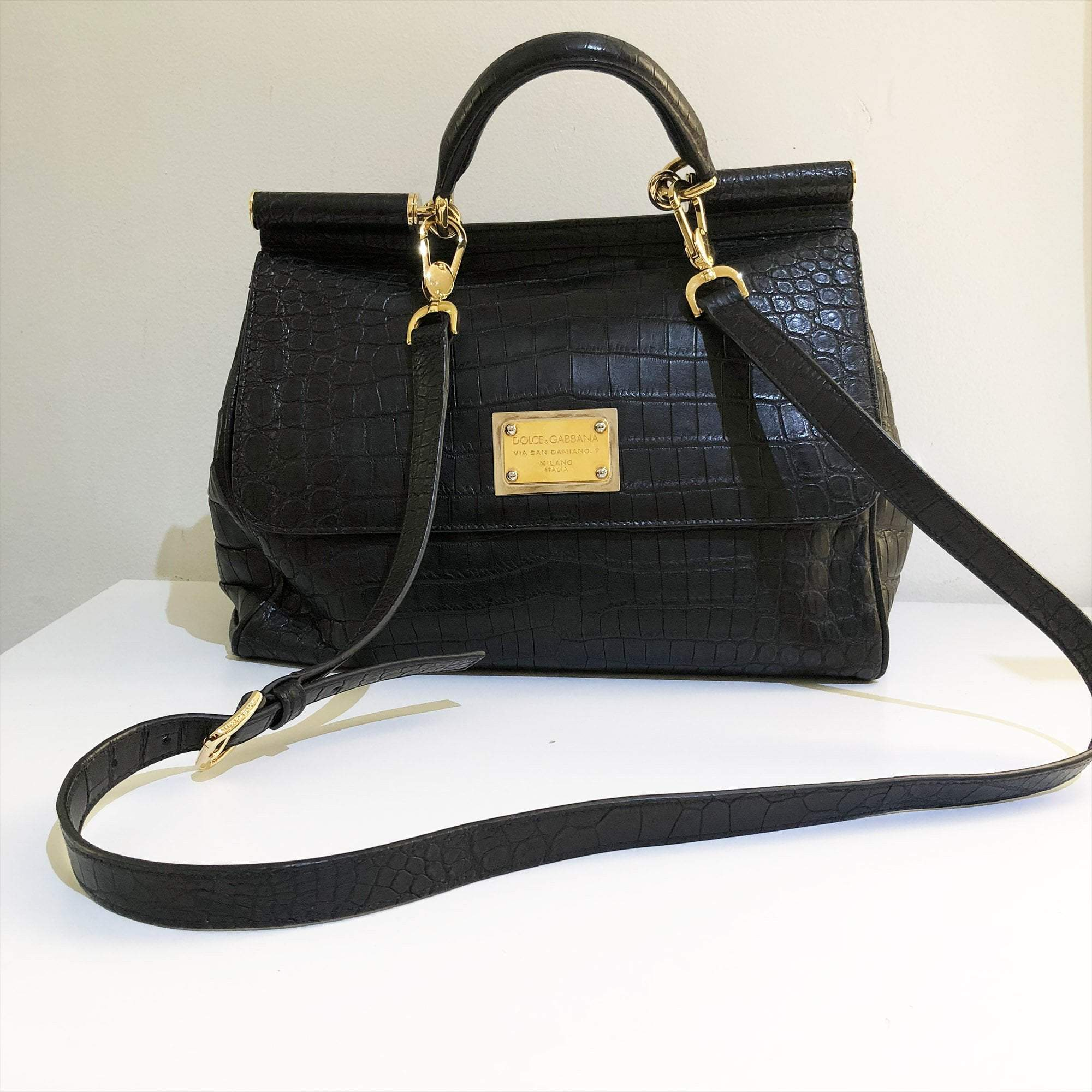 18402cda26 Dolce   Gabbana Black Crocodile Embossed Large Miss Sicily Tote