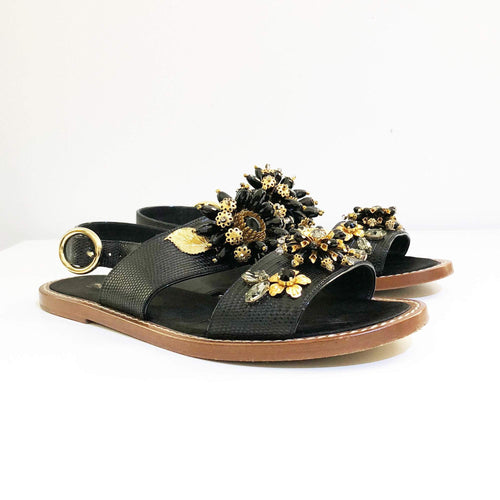 Dolce & Gabbana Black Crystal Embellished Sandals