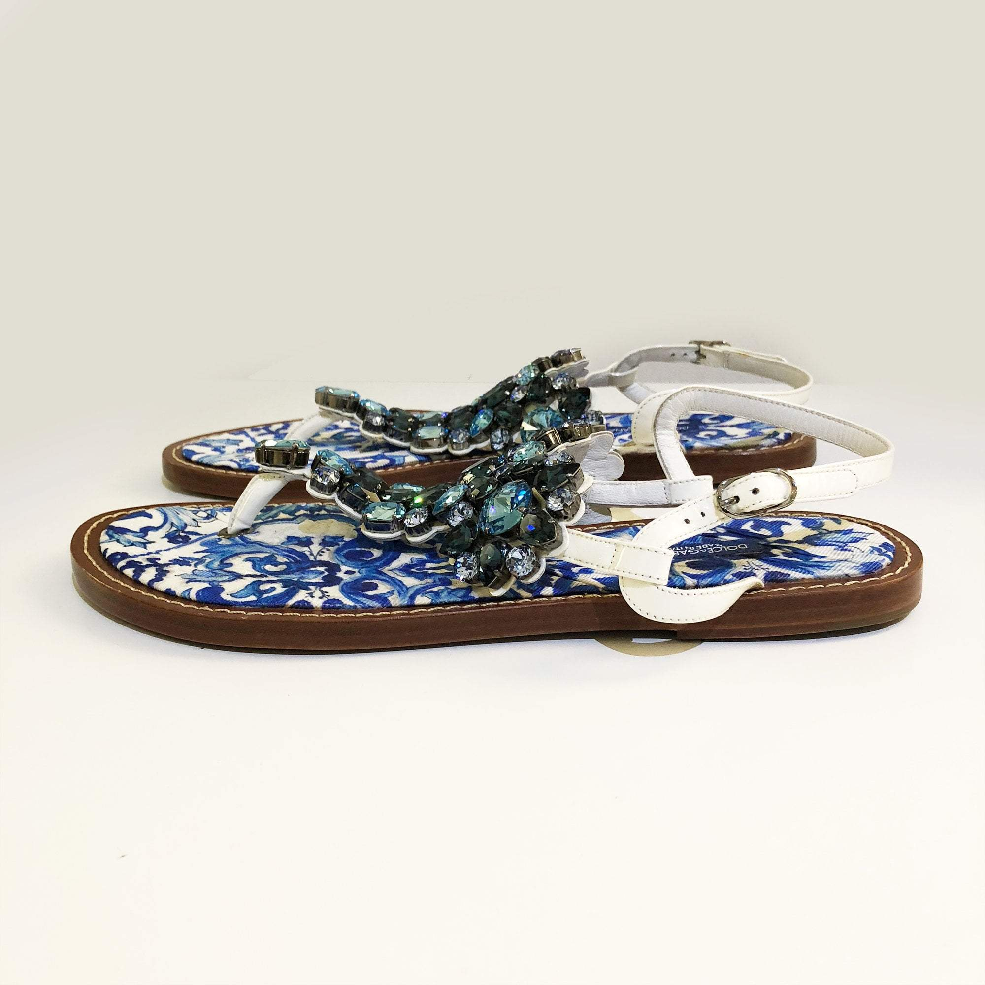 Dolce & Gabbana Blue Bejeweled Flat Leather Thong Sandals
