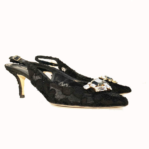 Dolce & Gabbana Crystal Embellished Lace Slingback Shoes