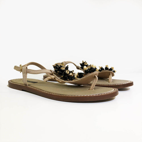 Dolce & Gabbana Thong sandal in iguana print calfskin with stones