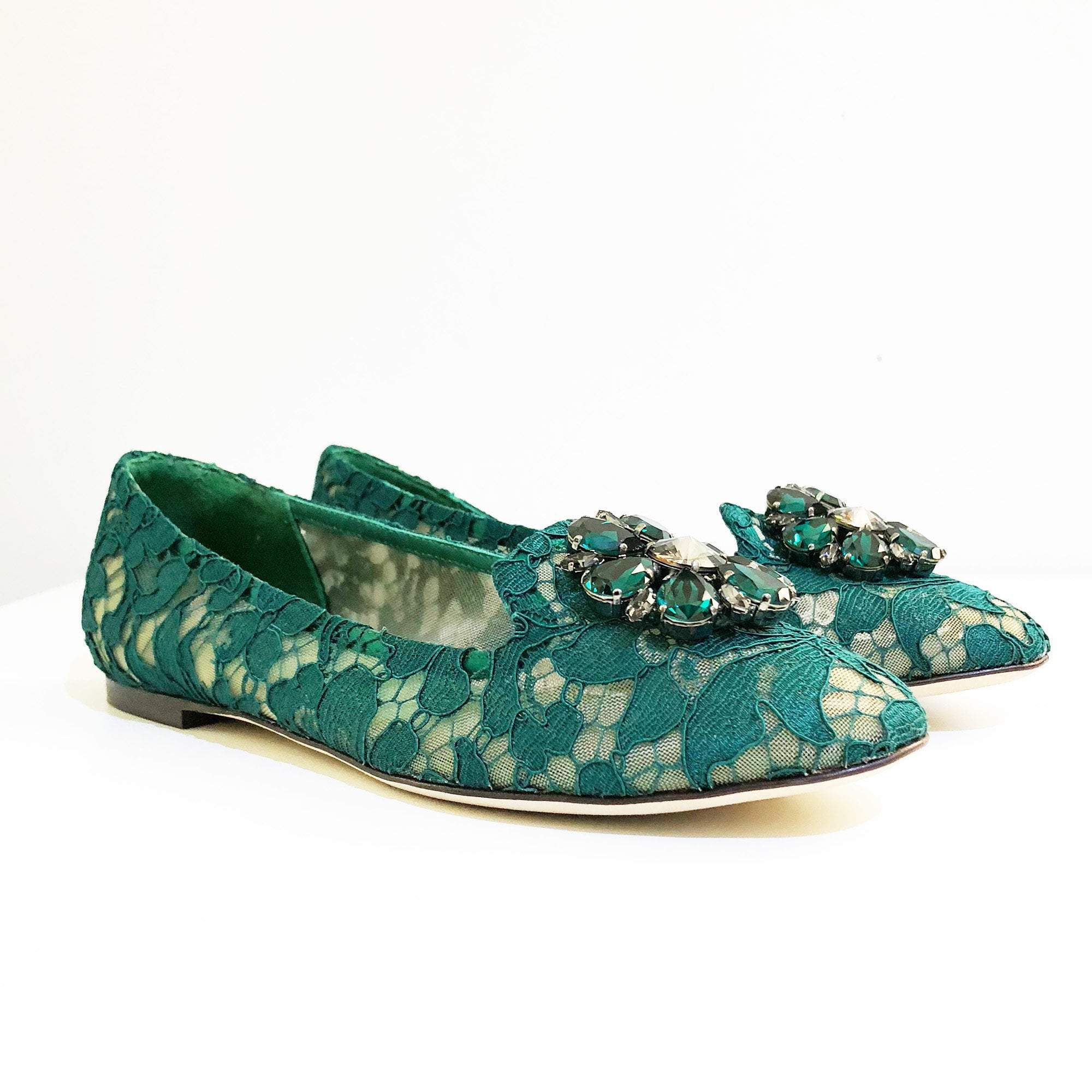 Dolce & Gabbana Green Vally Embellished Lace Ballerinas