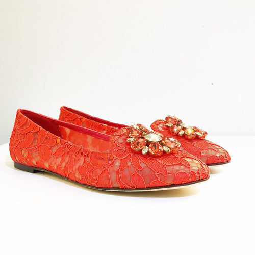 Dolce & Gabbana Red Vally Embellished Lace Ballerinas