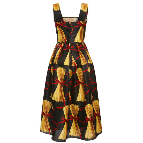 Dolce & Gabbana Pasta Print Silk Dress