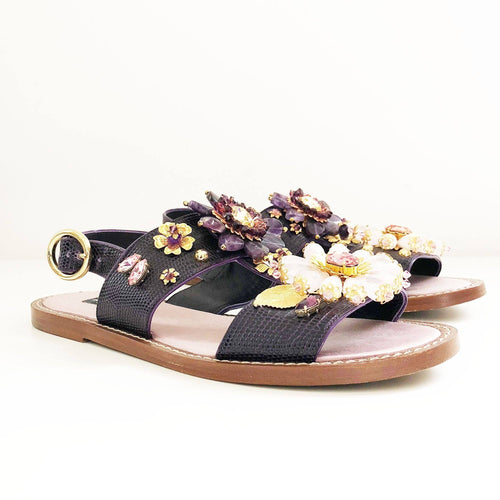 Dolce & Gabbana Purple Crystal Embellished Sandals