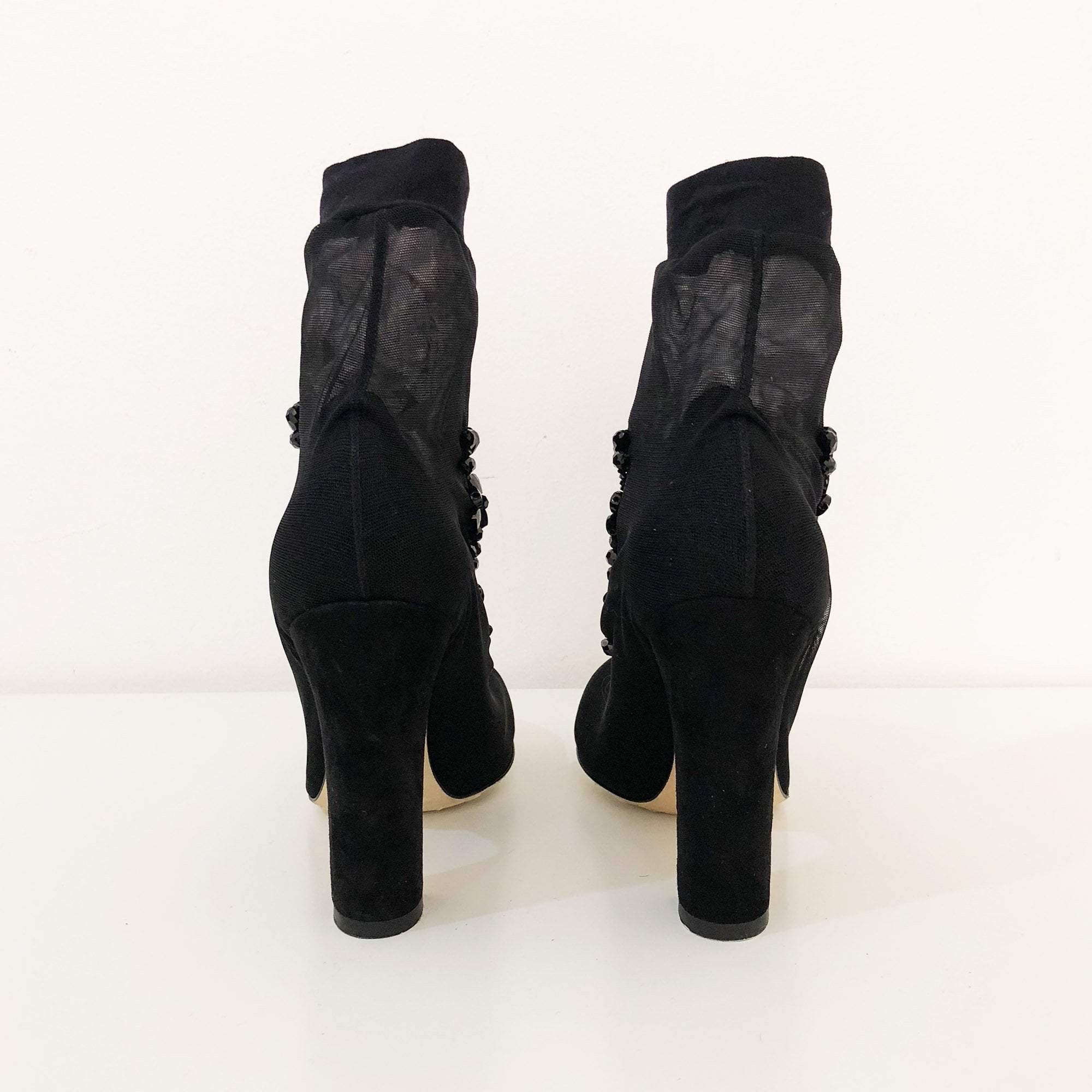 Dolce and Gabbana Tulle Sock Booted Ankle High Shoes