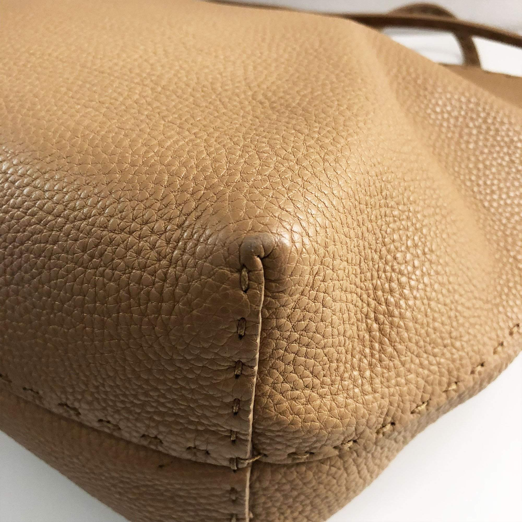 "FENDI ""Selleria"" Tan Pebbled Roman Leather Roll Tote Bag Shopper"