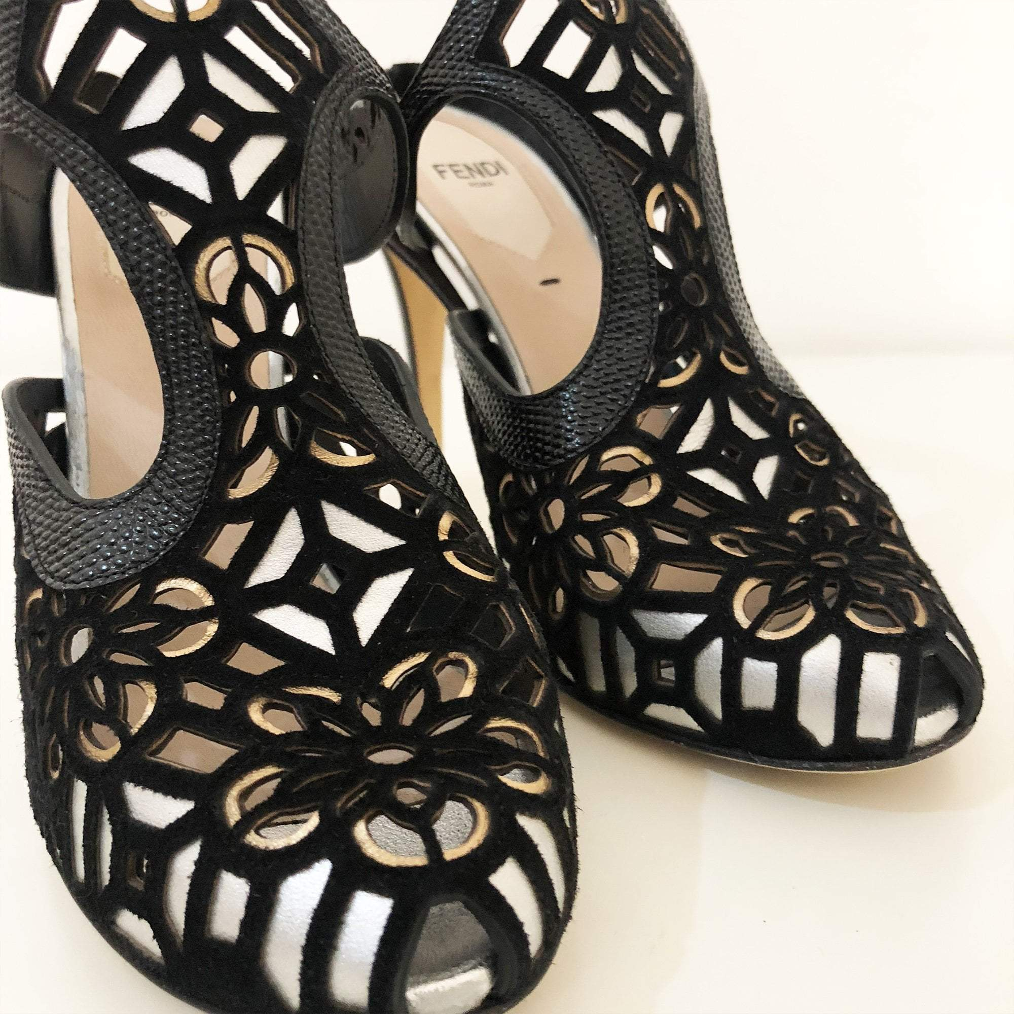 Fendi Black Laser Cut Mule Heels