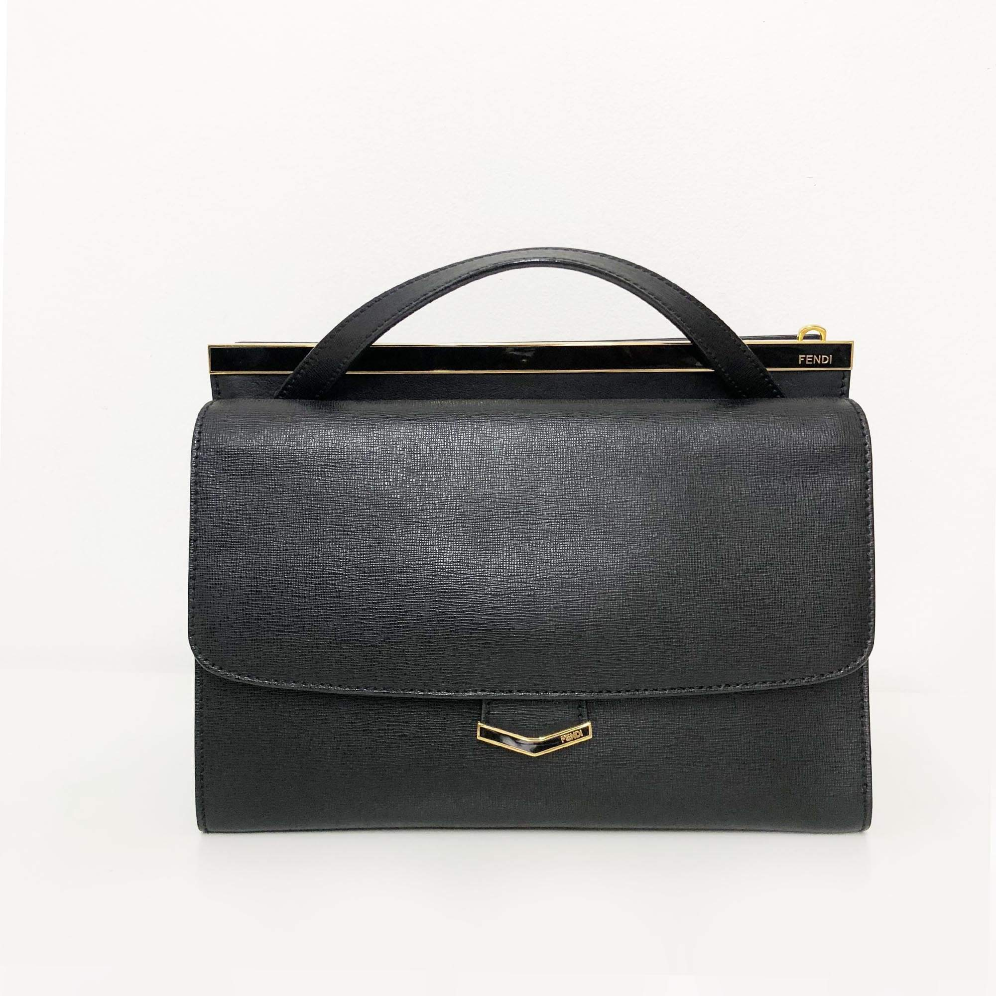 Fendi Black Leather 'Demi Jour' Split Shoulder Bag