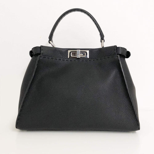 Fendi Black Peekaboo Leather Tote