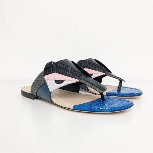 Fendi Bug Monster Leather Flat Thong Sandal
