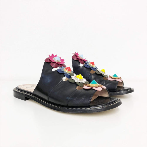 Fendi Floral Applique Leather Mule Sandal