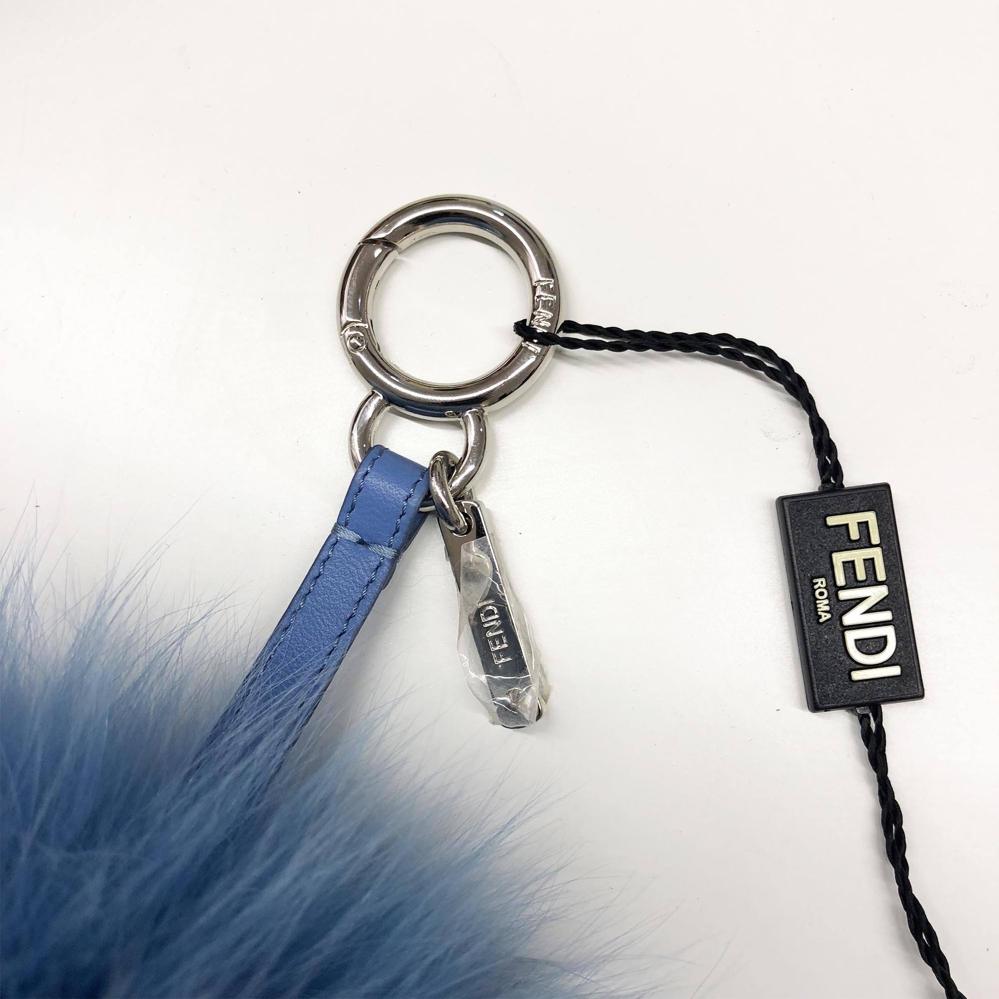 Fendi Fox Fur ABCharm H Bag Charm Nebula Blue Dark Brown