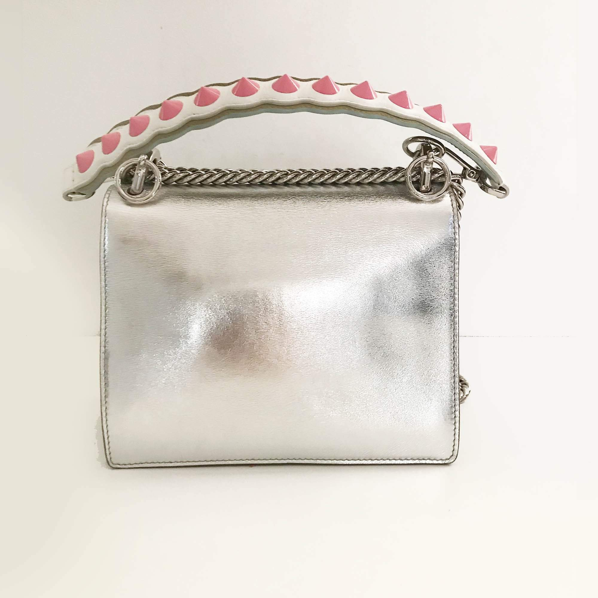 Fendi KAN I Small Silver leather mini-bag