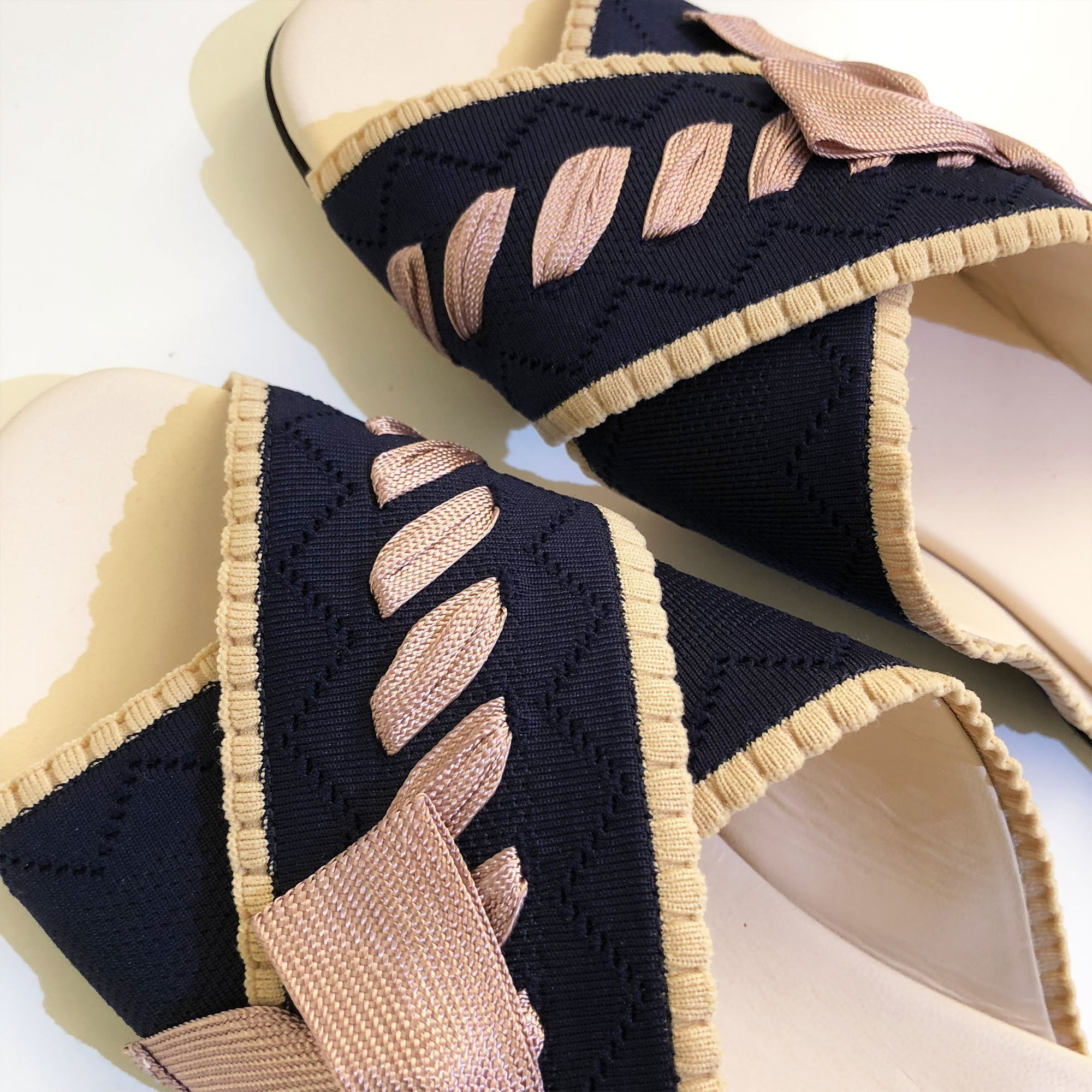 Fendi Knit Navy Blue Criss Cross Slides